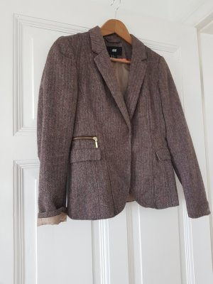 H&M Tweed Blazer brown-dark brown
