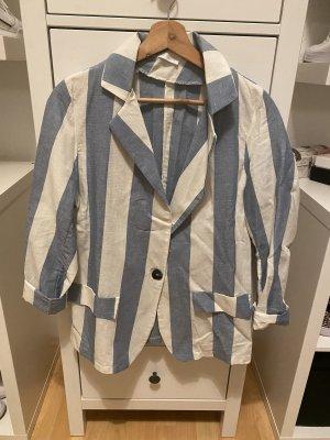 Made in Italy Marynarka uniseks w kolorze białej wełny-chabrowy Len
