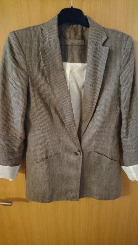 Blazer aus Leinen grau mit weißen Streifen von Zara