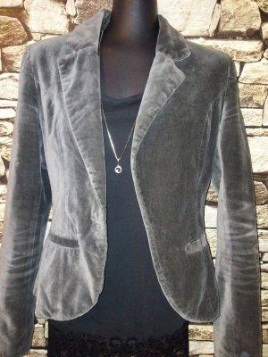 Blazer Boyfriend gris-gris oscuro tejido mezclado
