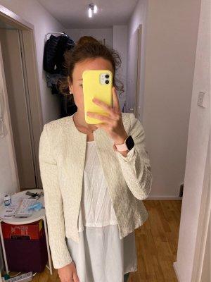 H&M Blazer court blanc cassé-doré