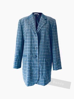 Blazer dandy Vintage Karo blau streifen Nadel long oversized ocker | true Vintage | 44