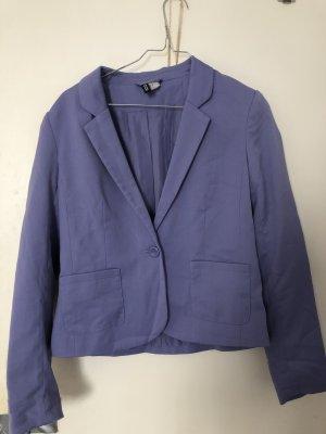 H&M Korte blazer blauw-paars-paars Gemengd weefsel
