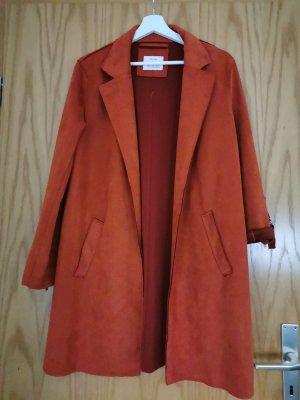 Bershka Długa kurtka ciemny pomarańcz