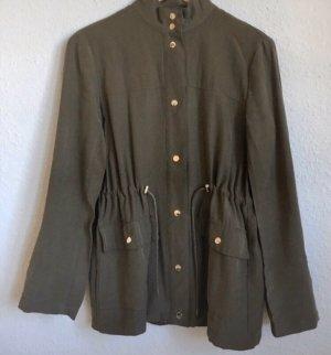 Zara Leren blazer groen-grijs