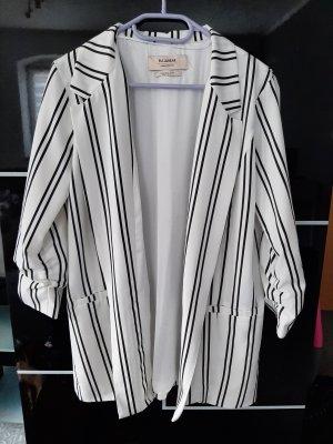 Pull & Bear Long Blazer white-black