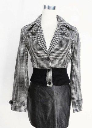 True Vintage Bluzon biały-czarny Wełna