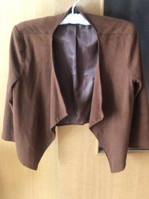 Bershka Blazer de cuero marrón
