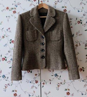 Blazer en tweed noir-brun sable acétate