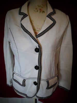Elégance Paris Blazer de lana blanco-azul oscuro Algodón