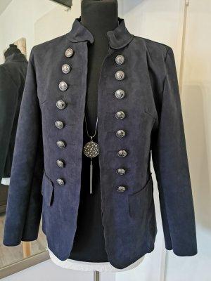 Leather Blazer dark blue imitation leather