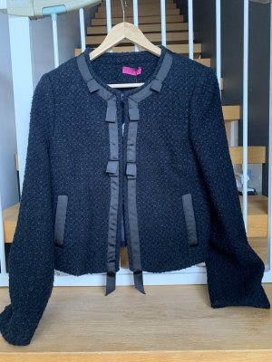 Bea Tricia Blazer en tweed noir-bleu foncé