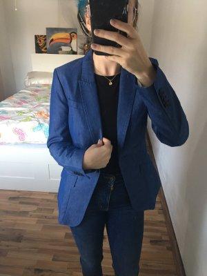 H&M Denim Blazer dark blue-blue