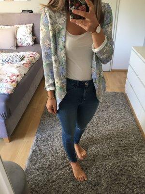 Blazer Jacke blau grau geblümt H&M 36