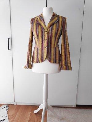 Blazer Jacke bunt gelb farben Senffarben Größe 36