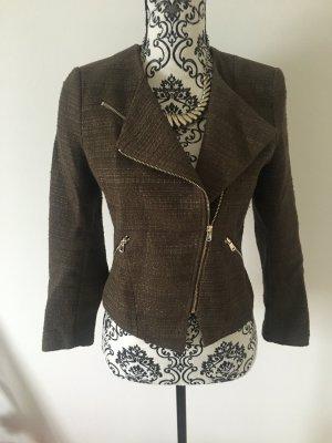 H&M Tweed blazer zwart bruin-bruin