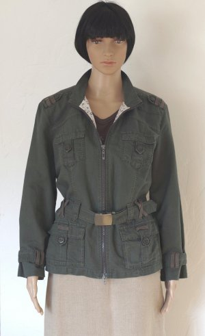 Cecil Military Jacket dark green-khaki linen