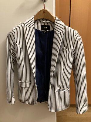 H&M Blazer en jersey bleu-blanc cassé polyester