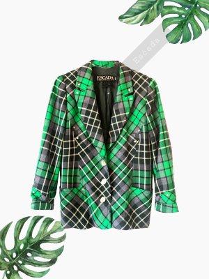 Blazer Jacket Jacke wolle Karo grün schwarz braun oversize Gold | vintage | 42-44