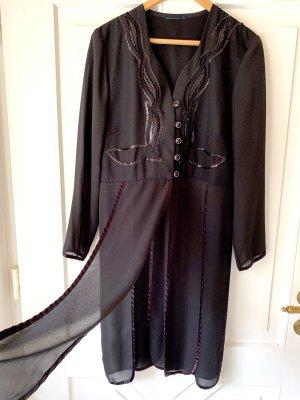 Blazer Jacket Kleid Fransen Vintage schwarz Paillettenkleid Abendanzug Frack