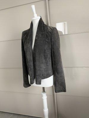 Hallhuber Leather Blazer dark grey-anthracite