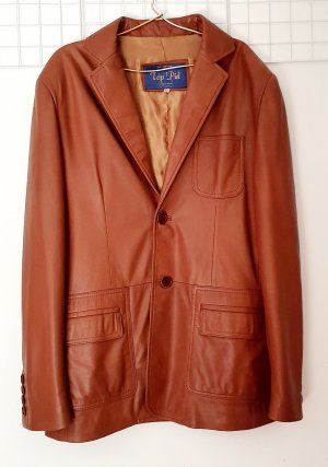 Leather Blazer brown-cognac-coloured leather