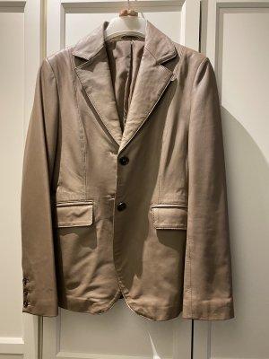 Stefanel Blazer de cuero marrón grisáceo Poliéster