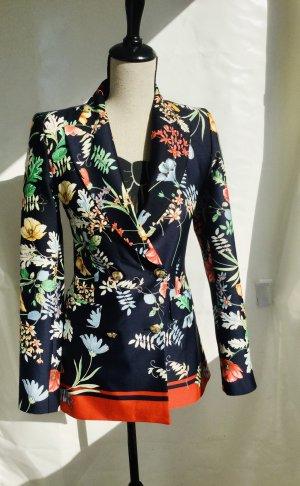 Blazer longblazer Zara floral Print Blumen Muster bunt xs Zweireiher