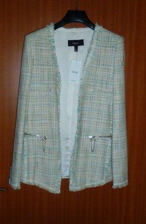 Blazer Mango weiß grün beige meliert Tweed Bouclé Gr. 36 34 S neu