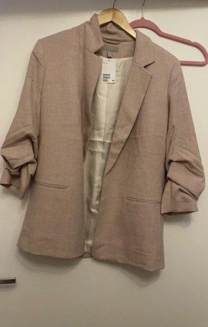 H&M Lange blazer stoffig roze