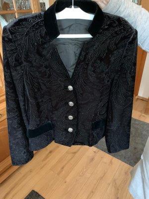 Leather Blazer black-silver-colored