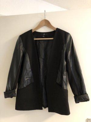 H&M Blazer en cuir noir