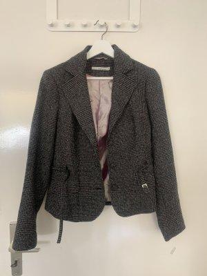 More & More Blazer en laine gris-blanc