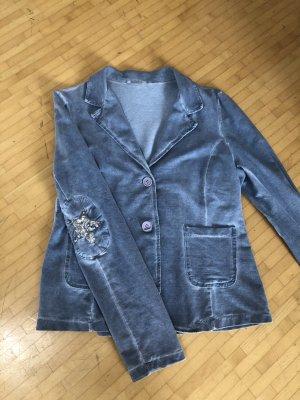 Blazer de tela de sudadera gris pizarra-azul pálido