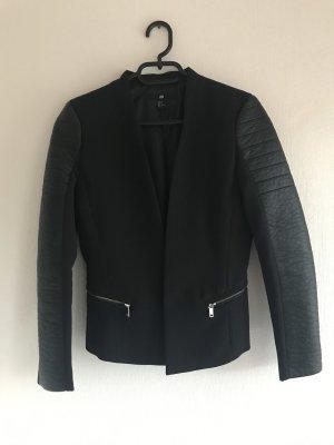 H&M Blazer de cuero negro