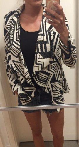 Mango Suit Knitted Blazer black-white