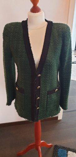 Zara Woman Blazer en tweed noir-vert foncé