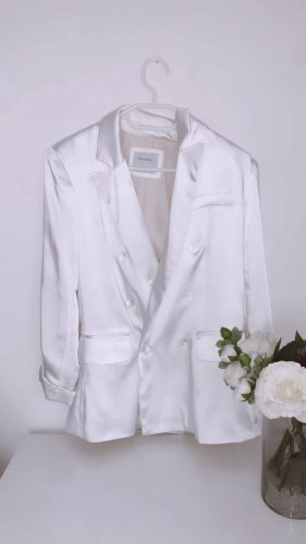 Blazer weiß im satin-look jacke mantel lang blazer