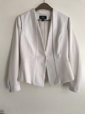 H&M Short Blazer natural white-black viscose