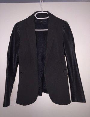 Zara Blazer in pelle nero-grigio scuro