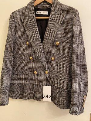 Zara Blazer en tweed blanc-noir