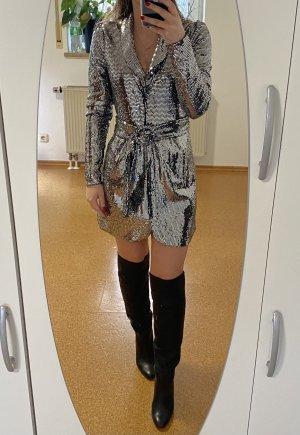 Bershka Gabardina tipo vestido color plata