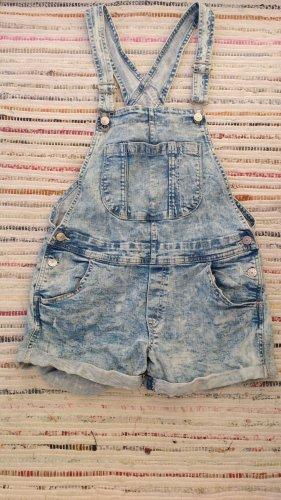 Bleached Denim Latzhosen-Shorts