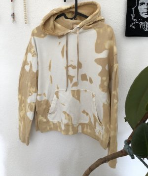 H&M Sweter z kapturem camel-biały
