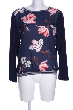 Bleifrei Langarm-Bluse blau-pink Blumenmuster Casual-Look