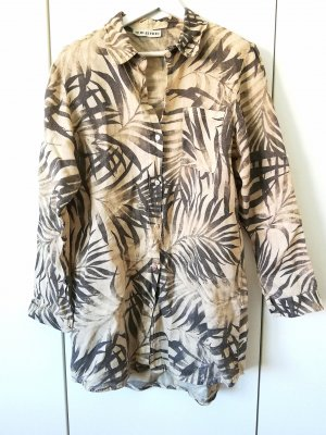 Bleifrei Leinenkleid Palmendruck Hemdkleid