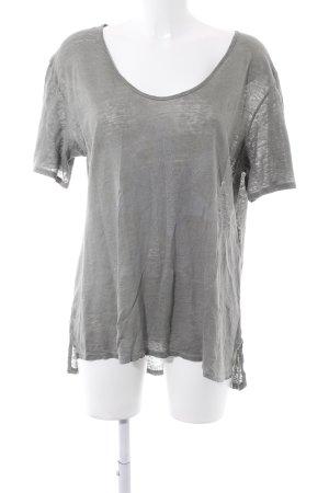 Bleifrei T-shirt imprimé gris vert-blanc motif de fleur style décontracté