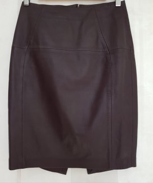 H&M Jupe en cuir rouge mûre