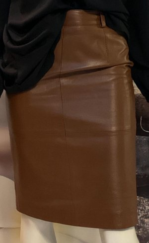 Prestige Elegance Jupe en cuir brun