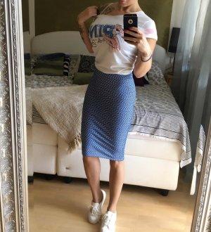 Pull & Bear Pencil Skirt white-cornflower blue